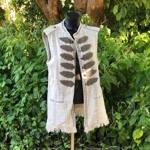 NWT Zara Boucle Military Metallic Beaded Vest XL